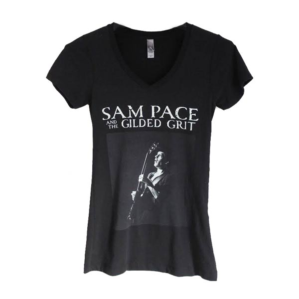 Women's Black T-shirt (Crew or V-neck) | Sam Pace and The Gilded Grit